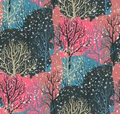 Vector seamless pattern with winter forest stock images