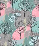 Vector seamless pattern with winter forest, abstract texture vector illustration