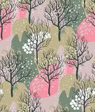 Vector seamless pattern with winter forest, abstract texture royalty free illustration