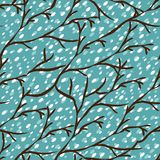 Vector seamless pattern with winter trees Royalty Free Stock Photo