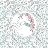 Vector Seamless Pattern With Blackthorn And Hand Drawn Cute Unicorn Stock Image