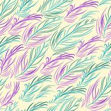 Vector Seamless Pattern With Colored Feathers Royalty Free Stock Photo