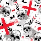 Vector Seamless Pattern With Dotted Skull, Red Crosses, Butterflies, Blots And Arrows In Red And Black On The White Background. Royalty Free Stock Photos