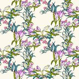 Vector Seamless Pattern With Flowers And Leaves