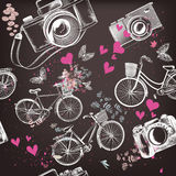 Vector Seamless Pattern With Hand Drawn Bicycles And Hearts Royalty Free Stock Image