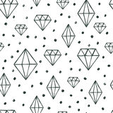 Vector Seamless Pattern With Hand Drawn Watercolor Diamond Crystals. Royalty Free Stock Image