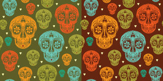 Free Vector Seamless Pattern With Sugar Skull Stock Image - 44736731