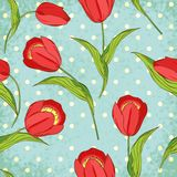 Vector Seamless Pattern With Tulips Stock Photography