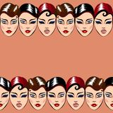 Vector seamless pattern with woman faces Royalty Free Stock Images
