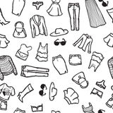 Vector seamless pattern with woman fashion objects. Royalty Free Stock Photography