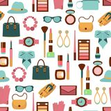 Vector seamless pattern of women accessories and cosmetics. Vector color seamless pattern of women accessories and cosmetics vector illustration