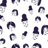 Vector seamless pattern with women faces. Hand drawn vector illustration. stock illustration