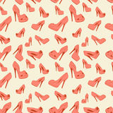 Vector seamless pattern of women's shoes with heels. Vector seamless background pattern of women's shoes with heels Stock Photography