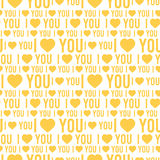 Vector seamless pattern with the words I love you on a white background Royalty Free Stock Photo