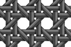 Vector seamless pattern of woven fabric braided cords. Vector seamless realistic pattern of woven fabric braided cords on white background vector illustration