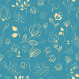 Vector seamless pattern. Yellow flowers stock image
