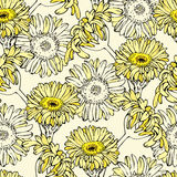 Vector seamless pattern with yellow gerbera flowers Royalty Free Stock Images
