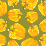 Vector seamless pattern of yellow peppers Stock Photography