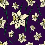 Vector seamless pattern with yellow spring flowers royalty free illustration