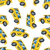 Vector Seamless pattern of yellow taxi cars Royalty Free Stock Image
