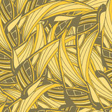 Vector seamless pattern with yellow tropical leaves Royalty Free Stock Photos