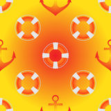 Vector seamless pattern in yellow, white and red colors. Sea theme, lifebuoy, anchors Royalty Free Stock Photo
