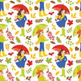 Vector Seamless Pattern with Young Girls and Autumn Colorful Leaves royalty free illustration