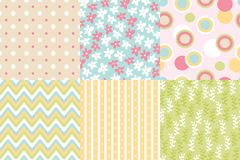 Vector seamless pattern. Zigzag, polka dot, flowers, leaves bran. Ches, striped rounds Pastel colors Stock Image