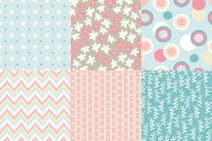 Vector seamless pattern. Zigzag, polka dot, flowers, leaves bran. Ches, striped rounds Pastel colors Stock Photo