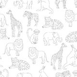 Vector seamless pattern of zoo animals isolated on white background stock illustration