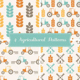 Vector seamless patterns on agricultural theme. Set of 4 vector seamless patterns on agricultural theme (ears of wheat, tractor, plow, mill). Minimalistic design Royalty Free Stock Photos