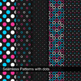 Vector seamless patterns with circles and dots. Royalty Free Stock Images