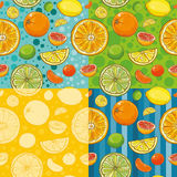 Vector seamless patterns with citrus fruits Royalty Free Stock Photo