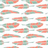 Vector seamless patterns with feathers Royalty Free Stock Images