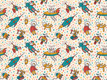 Vector seamless patterns with funny ufo. Royalty Free Stock Image