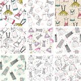 Vector seamless patterns. Hand draw seamless patterns with fashion clothes Stock Photos
