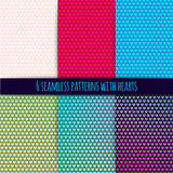 6 vector seamless patterns with hearts Stock Photo