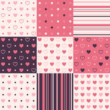 9 vector seamless patterns. With hearts, strips and point Royalty Free Stock Photography