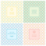 Vector seamless patterns with labels and text Royalty Free Stock Photo