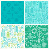 Vector seamless patterns. With linear icons and signs related to travel and sea - abstract textures and backgrounds for travel agencies websites and banners Stock Image