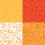 Vector seamless patterns with linear icons and signs related to Royalty Free Stock Photo