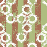 Vector seamless patterns with mechanism of screw nuts and stripes. Creative geometric beige pastel  grunge backgrounds. Stock Image