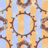 Vector seamless patterns with mechanism of watch. Creative geometric beige grunge backgrounds with gear wheel. Texture with cracks, ambrosia, scratches Stock Photo