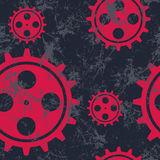 Vector seamless patterns with mechanism of watch. Creative geometric black and red grunge backgrounds with gear wheel. Texture with cracks, ambrosia, scratches royalty free illustration