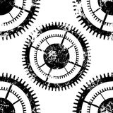 Vector seamless patterns with mechanism of watch.. Creative geometric black and white grunge backgrounds with gear wheel. Texture with cracks, ambrosia Stock Photo