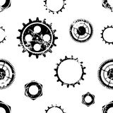 Vector seamless patterns with mechanism of watch. Creative geometric black and white grunge backgrounds with gear wheel. Texture with cracks, ambrosia Royalty Free Stock Image