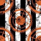 Vector seamless patterns with mechanism of watch. Creative geometric black, white, red grunge backgrounds with gear wheel. Texture with cracks, ambrosia royalty free illustration