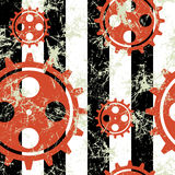 Vector seamless patterns with mechanism of watch. Creative geometric black, white, red grunge backgrounds with gear wheel. Texture with cracks, ambrosia stock illustration