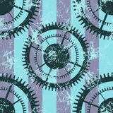 Vector seamless patterns with mechanism of watch. Creative geometric blue grunge backgrounds with gear wheel. Stock Image