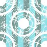 Vector seamless patterns with mechanism of watch. Creative geometric blue, white grunge backgrounds with gear wheel. Royalty Free Stock Images